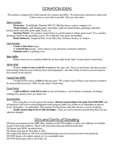 silent auction ideas donation ideas silent auction