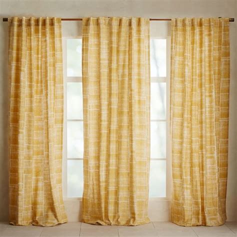 mid century modern curtains mid century cotton canvas etched grid curtains set of 2 7496