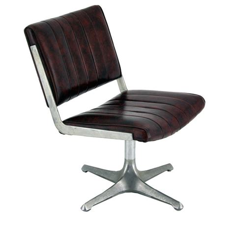american instutional swivel chair in brushed aluminum and