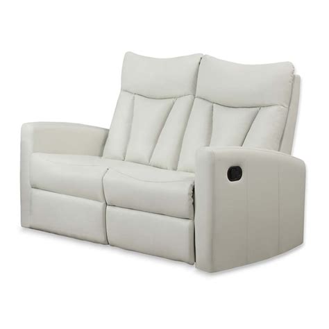 leather reclining loveseat in ivory i87iv 2