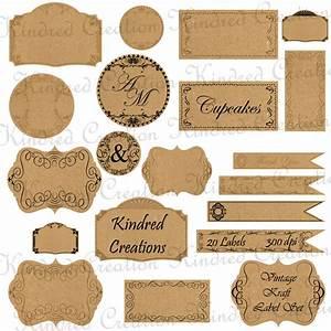 Vintage Kraft Paper Labels Monogram Tags Circle Frame
