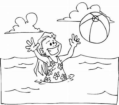 Beach Coloring Pages Water Kidprintables Kid
