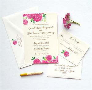 Berry watercolor flower wedding invitations mospens studio for Wedding invitations with real flowers