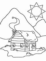 Coloring Cabin Pages Log Colouring sketch template