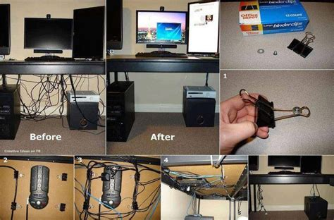 desk cable management ideas hide your cords on a glass office desk using binder clips