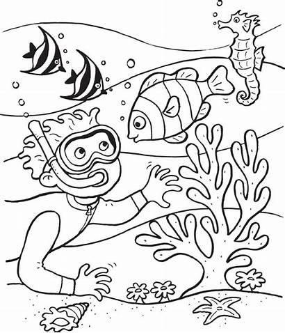 Coloring Ocean Scuba Diving Pages Printable