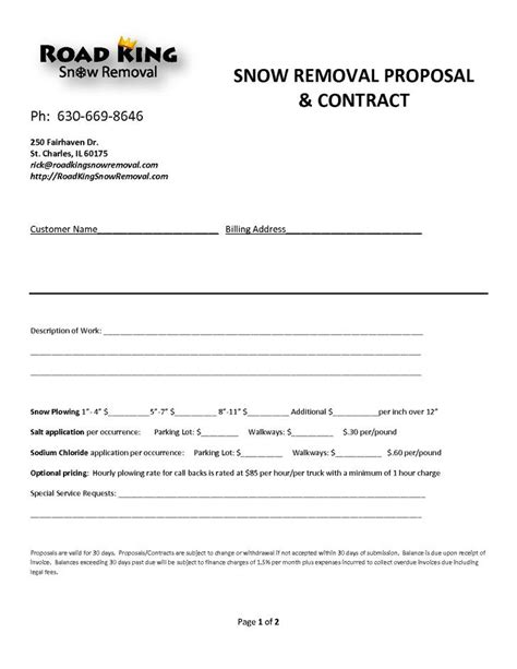 Residential Snow Removal Contract Template by Snow Plowing Contract Templates Free Premium