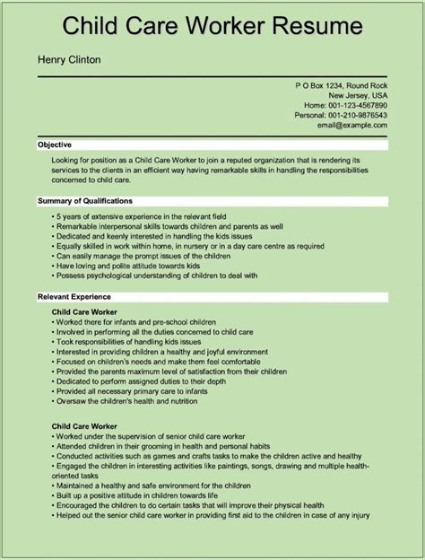 resume description for daycare provider child care worker resume