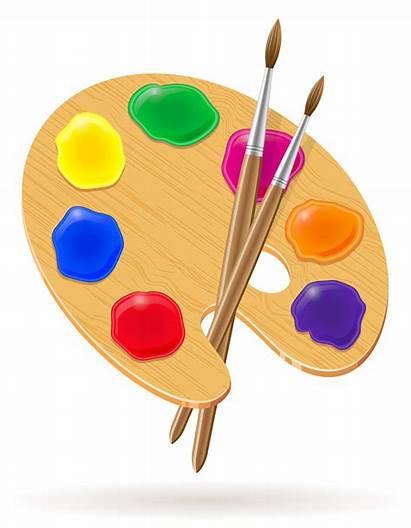 Vector Palette Brush Paints Paint Illustration Clipart
