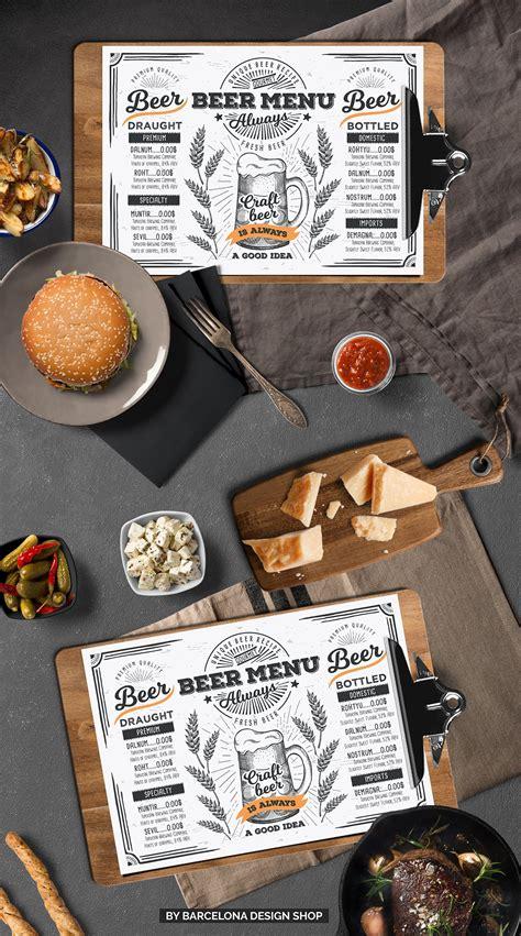 beer menu examples  psd ai eps vector