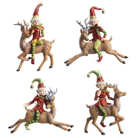 elf  reindeer ornament set   santaas holiday