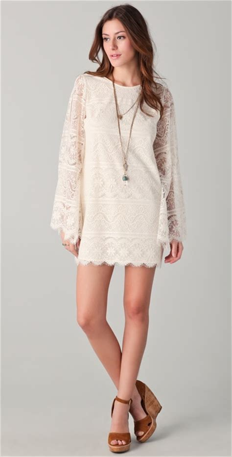 dolce vita starling bell sleeve lace dress  natural lyst