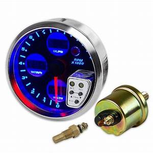 4 U0026quot Digital Tachometer Meter Gauge Water Temperature  Oil
