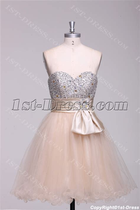 Champagne Beaded Short Quinceanera Court Dresses:1st dress.com