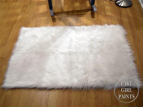 big fur rug lake paints rocker in shabby denim paint and white fur