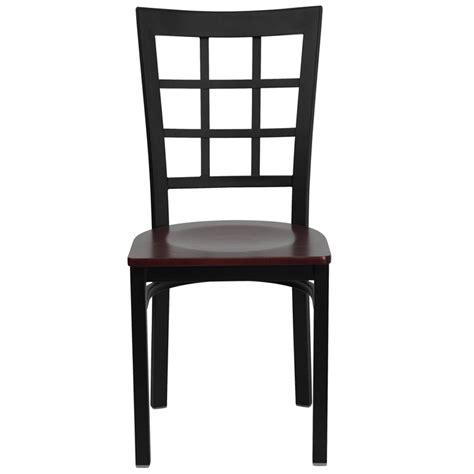 black window back metal restaurant chair with mahogany