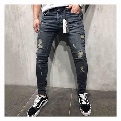 Jeans Skinny Slim Biker Ripped Frayed Pants