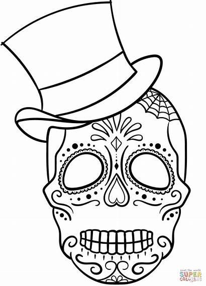 Skull Sugar Coloring Pages Hat Skulls Drawing