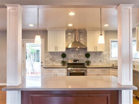 kitchen island columns contemporary kitchen with hardwood floors columns
