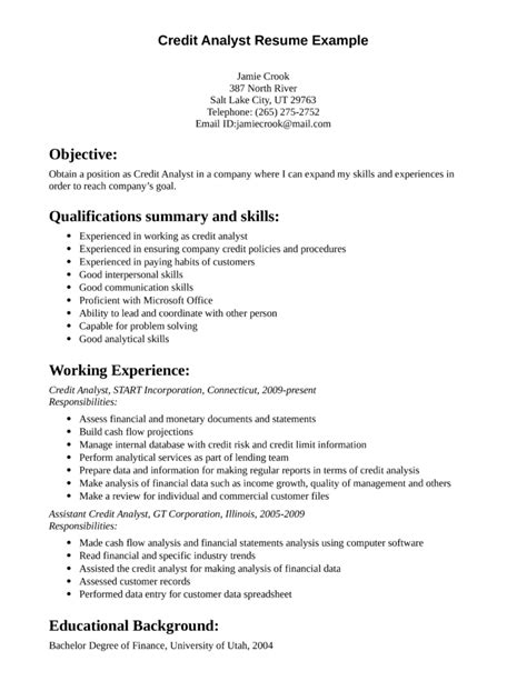 Credit Analyst Resume Objective Exles by Professional Credit Analyst Resume Template