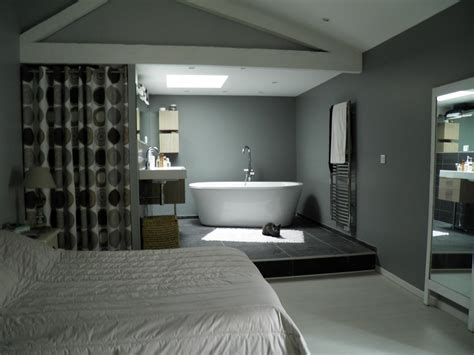 chambre ouverte sur salle de bain platrerie peinture sols toile tendue tournon tain