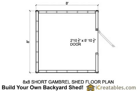 8x8 shed floor plans 8x8 gambrel shed plans 8 shed plans