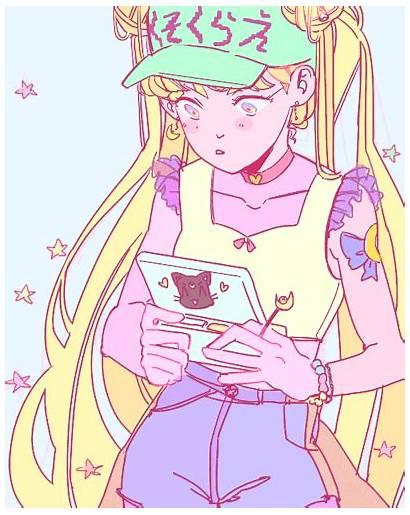 Sailor Moon Aesthetic Fan Pastel Usagi Moons