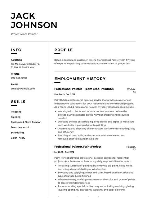 Professional Sle Resume by 12 Commercial Painter Resume Sle S 2018 Free Downloads