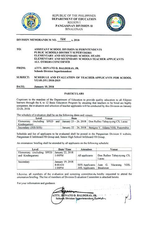 division memorandum     schedule