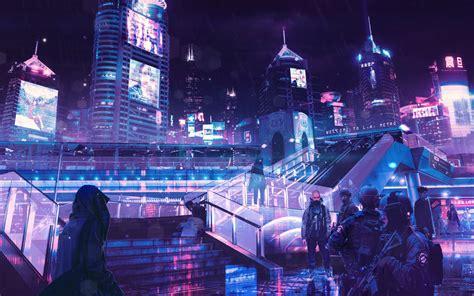 cyberpunk neon city  resolution hd