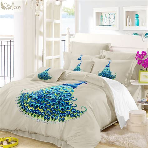 Peacock Colored Bedding by Blue Peacock Printed Bedding Set Bedroom Decoration