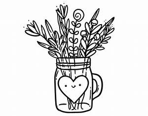 Pot De Fleur Transparent : coloriage de pot de fleurs sauvages et un c ur pour colorier ~ Teatrodelosmanantiales.com Idées de Décoration