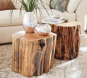 reclaimed wood stump table pottery barn With log stump coffee table