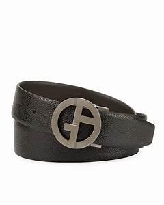 Giorgio Armani Logo-Buckle Vitello Belt, Black