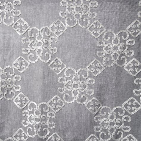 laurel embroidered linen style curtain panel