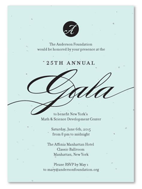 unique gala invitations  plantable paper fancy