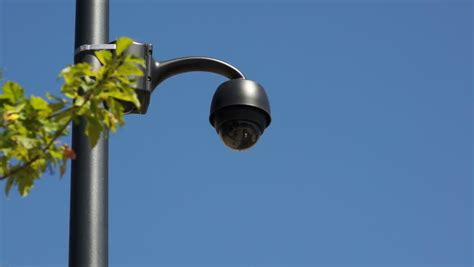 cameras on top of street lights time lapse view from surveillance camera top view stock