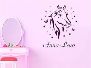 Wandtattoo Namen Kinderzimmer : wandtattoo pferd mit name schmetterlinge sterne wandtattoo de ~ Markanthonyermac.com Haus und Dekorationen
