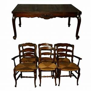 19th Century French Country Carved Oak Dining Table and