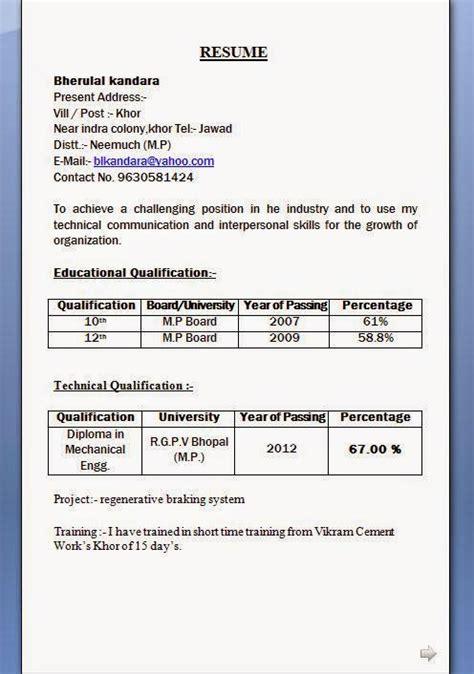 resume format slim