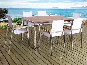Salon De Jardin Bois Et Metal : salon de jardin en inox seychelles phoenix 6 chaises une table 59837 ~ Teatrodelosmanantiales.com Idées de Décoration
