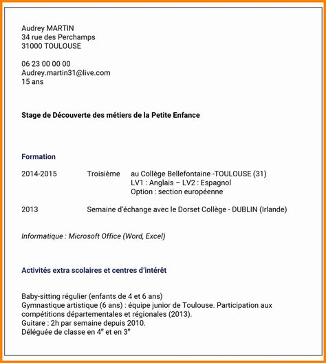 stage commis de cuisine exemple de cv 3eme lettre de motivation 2018