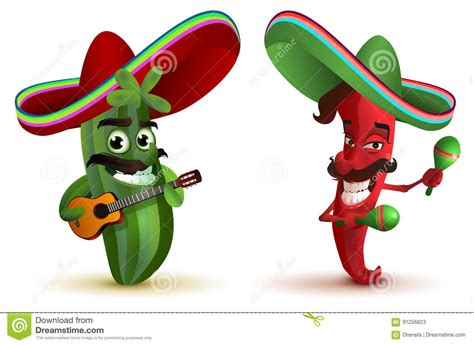 Red Hot Chili Peppers And Cactus In Mexican Hat Sombrero