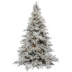 9 foot flocked utica fir christmas tree warm white italian led lights a895181led vickerman