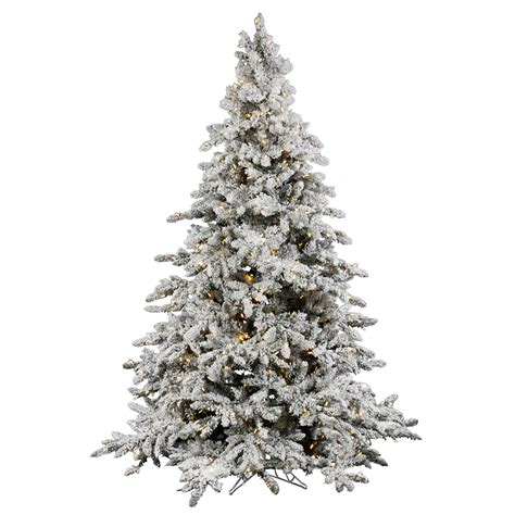 9 foot flocked utica fir christmas tree clear leds