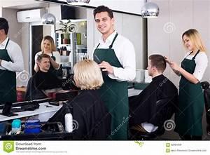 Professional Stylist Cutting Hair Of Elderly Blonde Stock ...
