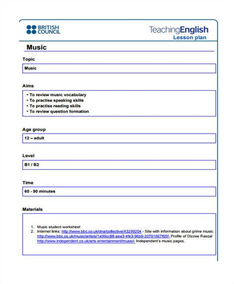 British Council Lesson Plan Template Blank by 17 Lesson Plan Sles Templates Sle Templates