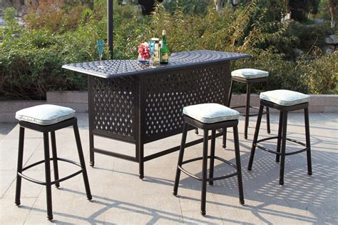 patio furniture party bar set cast aluminum backless