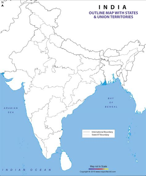 outline map  india