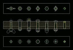 barra con tornillos 2d in autocad cad free 13